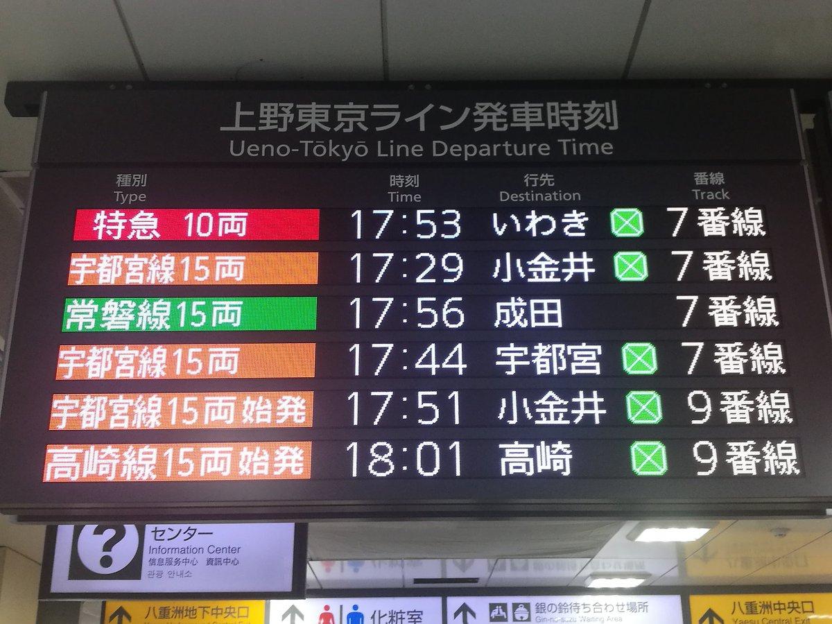 ライン 上野 遅延 東京