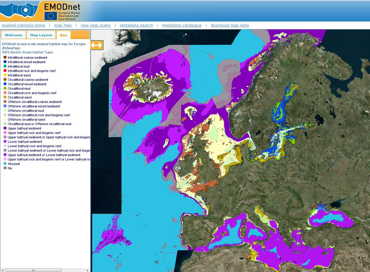 emodnet on twitter emodnet seabed habitats map for europe now updated to align with new msfd benthic habitat types