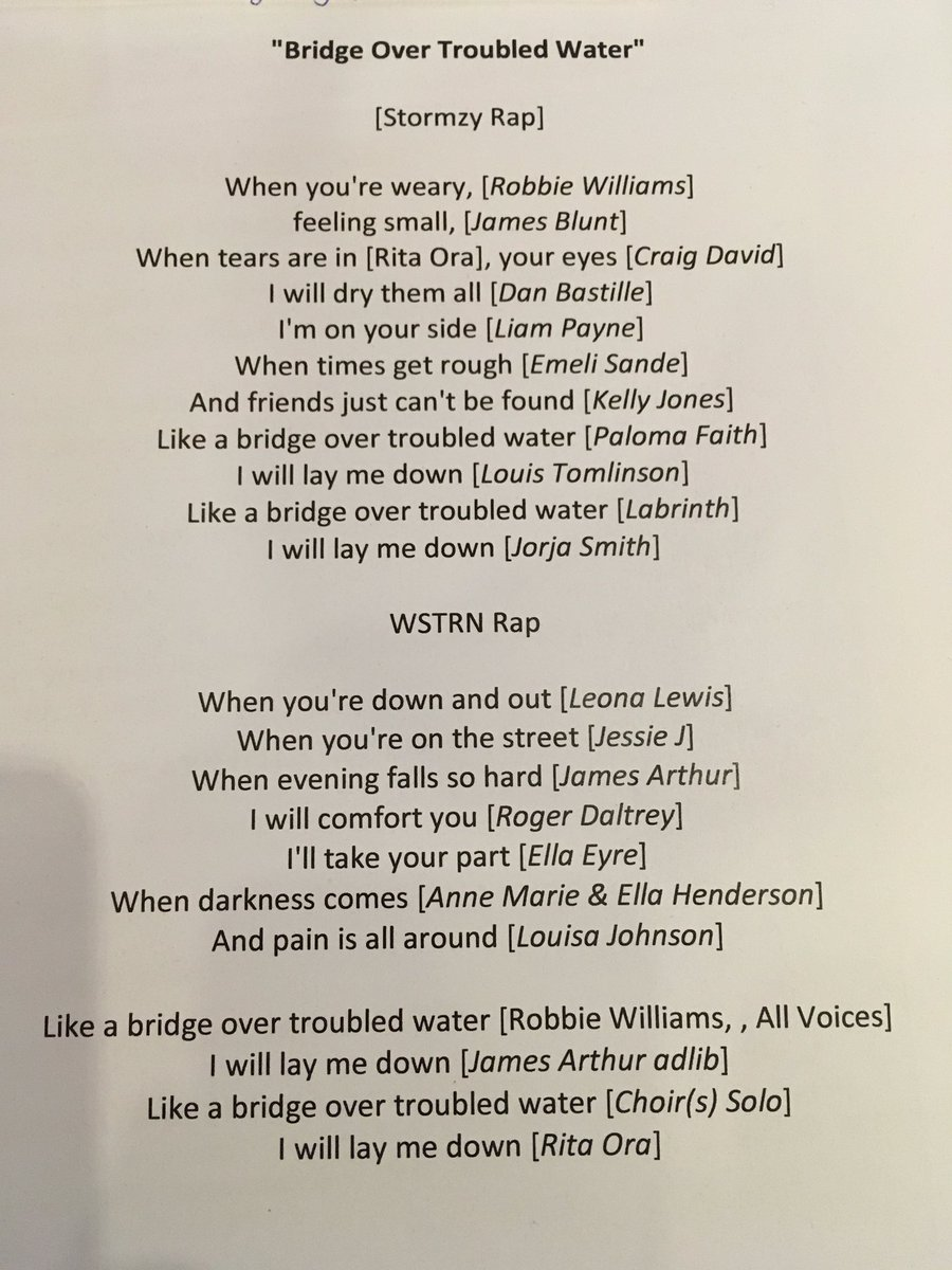 Here's who sings which line on the amazing #ArtistsForGrenfell #bridge...
