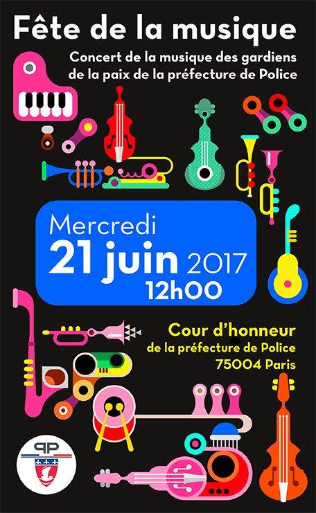 [#FDLM2017] Ce midi, venez fêter la #musique dans la cour d'honneur de la préfecture de Police 👉 https://t.co/jWKRPEsgyT 🎷