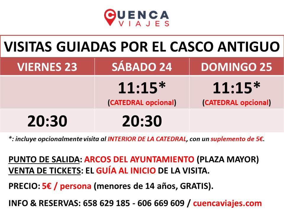 #Visitas #guiadas #Cuenca #FinDeSemana. #INICIO: #Arcos #Ayuntamiento, junto a #Oficina #Turismo. #INFO &amp; #RESERVAS: 658629185 / 606669609<br>http://pic.twitter.com/AUmFQaYw8N