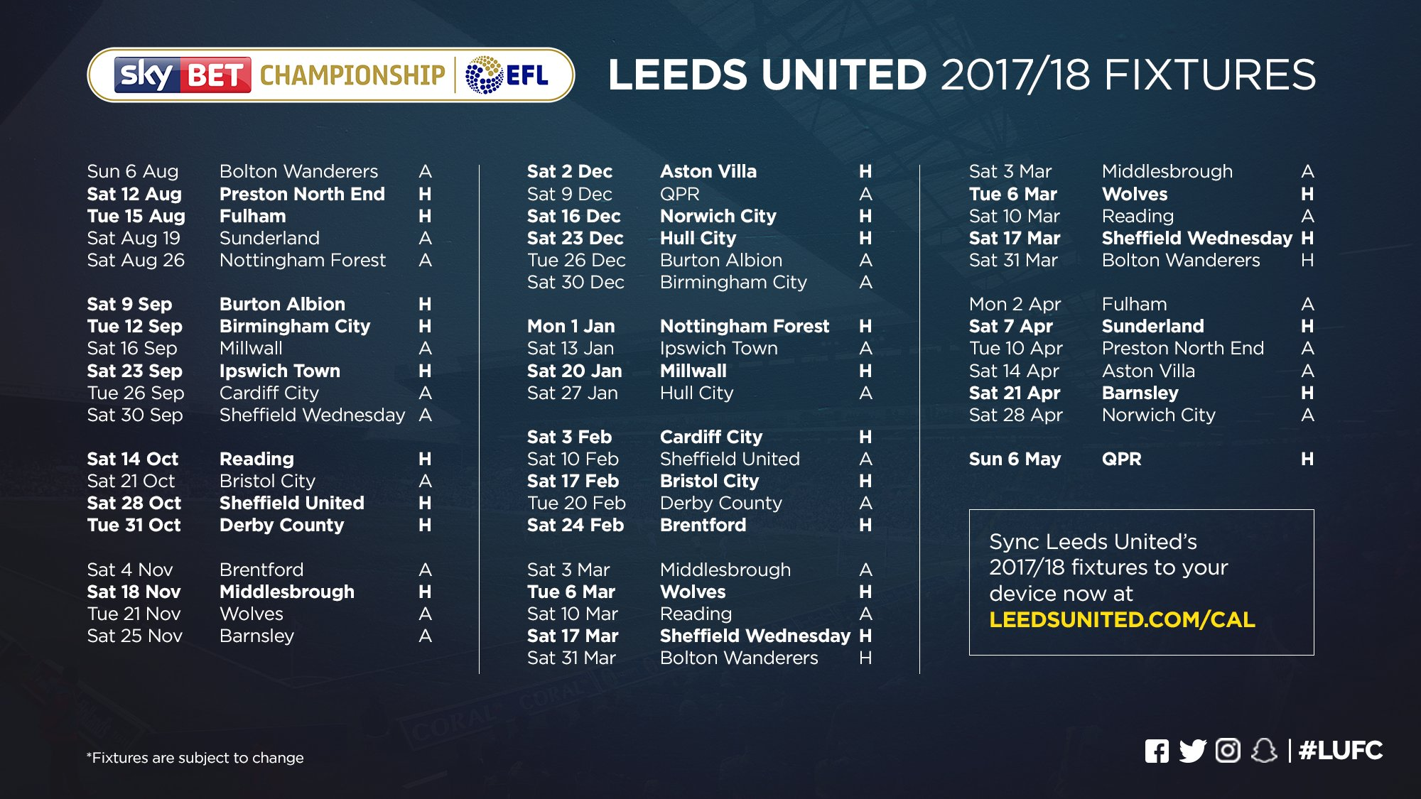 """Leeds United: Leeds United On Twitter: """"📅 Want To Sync #LUFC's Fixtures"""