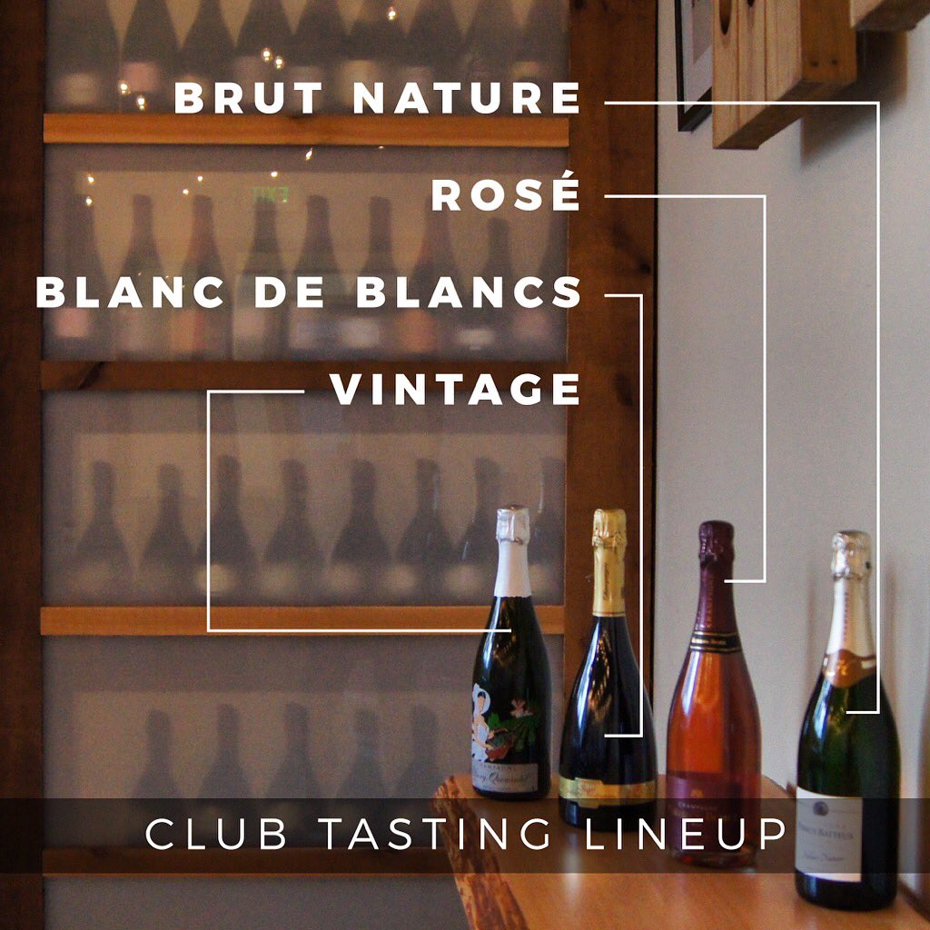 &quot;Club Members! Stop by this Wednesday and Thursday to taste  four very different #Champagnes and pick up your club shipments between 4-7!&quot; <br>http://pic.twitter.com/u2WOJnmaZa