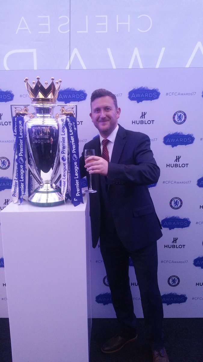 We love looking after the #ChelseaFC pitch! Mark couldn&#39;t help admiring the trophy too at the recent ChelseaFC Awards  #ukbizhour #football<br>http://pic.twitter.com/CsbihH2JGZ