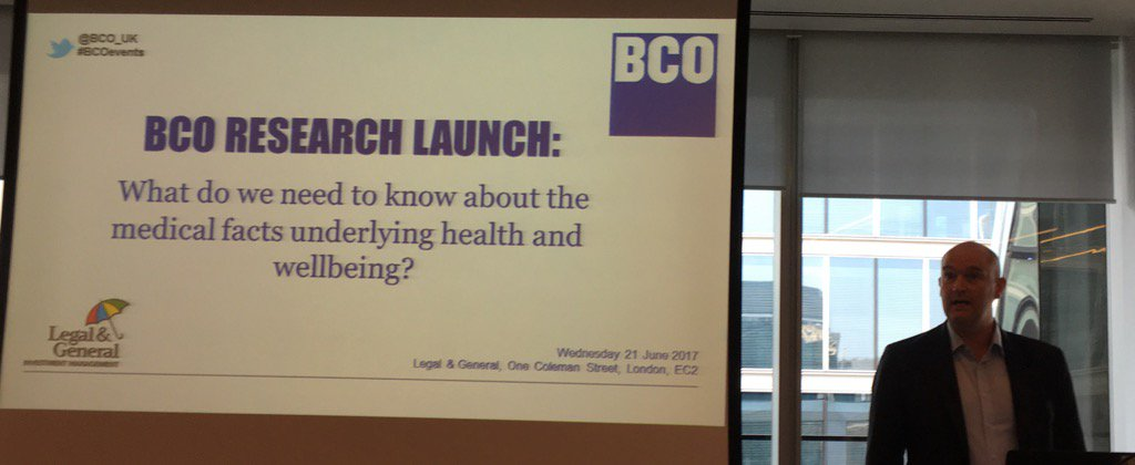 Bill Page LGIM introduces BCO research launch: medical facts of health & wellbeing  #bcoevents