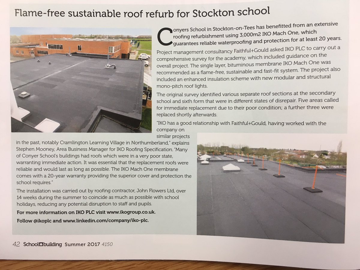 We&#39;ve got a lovely piece in the summer issue of @SchoolBuildMag. Read about our #sustainable #roof #refurb project  http:// goo.gl/TNrXyn  &nbsp;  <br>http://pic.twitter.com/Fv92RZpaMy