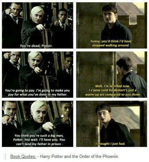 """harry potter world on draco malfoy """"you re dead potter"""