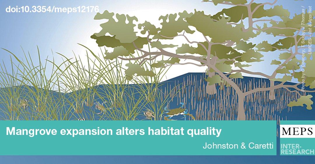 Marsh, not mangroves, favored by #bluecrab = #mangrove spread means #habitat decline for key #estuarine secies #OA  http:// bit.ly/meps_573_1  &nbsp;  <br>http://pic.twitter.com/bN5pQFTuX1
