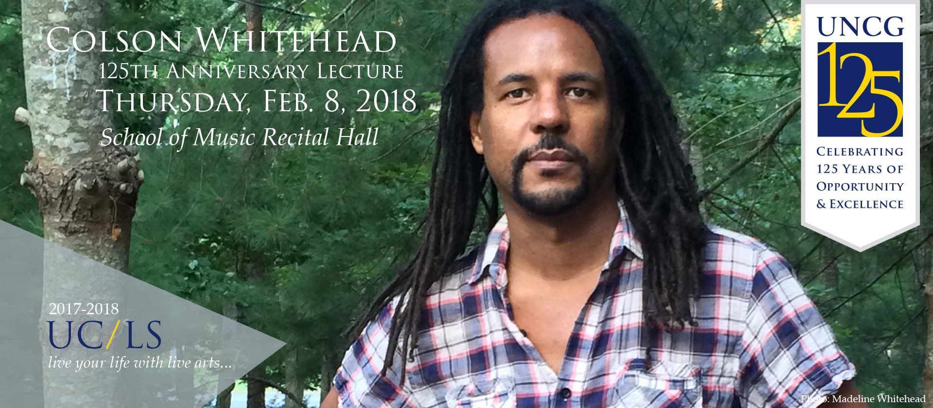 @colsonwhitehead gives 125th Ann. lecture in Feb. Free but limited seating! #blackhistory #ucls #uncgarts #uncg125 https://t.co/tpQ7jcudGt https://t.co/mmAQCTF1L0