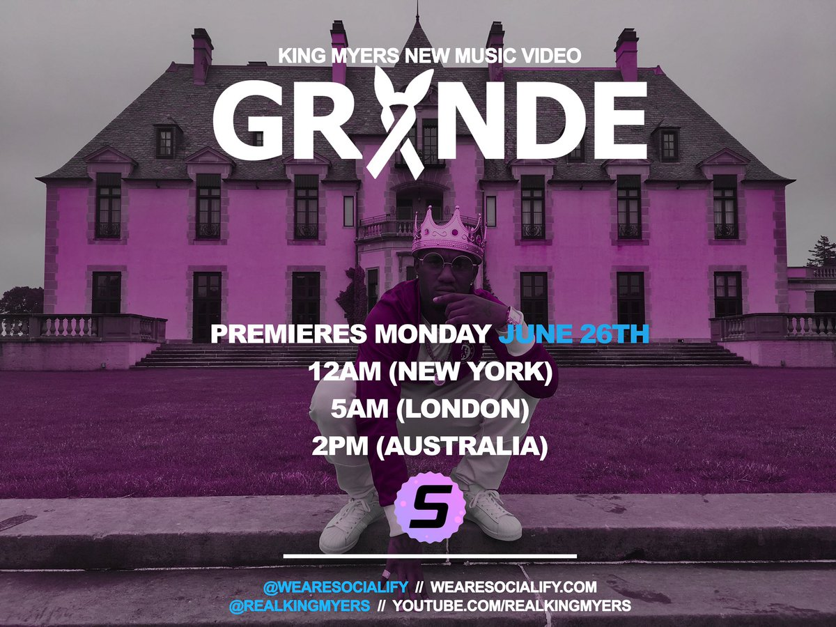 On Monday June 26th @wearesocialify will be premiering the official music video for my single #GRANDE! 5 DAYS AWAY!  <br>http://pic.twitter.com/GmsZ8Zkk0h