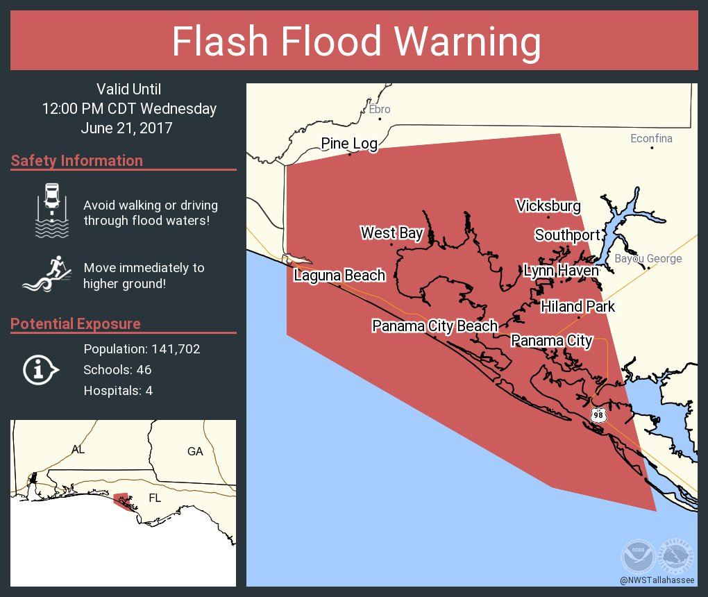 Flash Flood Warning including Panama City FL, Lynn Haven FL, Panama City Beach FL until 12:00 PM CDT