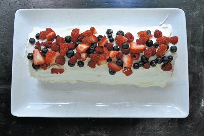 Roll out angel food cake with summer berries