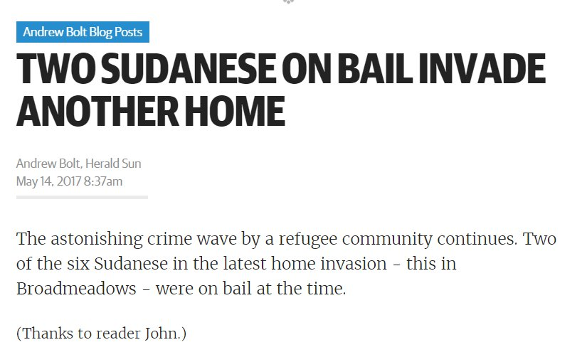 (source: #AndrewBolt, #HeraldSun May 14, 2017) #springst #melbourne #apex #australia #homeinvasion #crime  http://www. heraldsun.com.au/blogs/andrew-b olt/two-sudanese-on-bail-invade-another-home/news-story/7bc2c863ccdc48d35f5e67130324d726 &nbsp; …  #auspol<br>http://pic.twitter.com/ALCNfnZJZ7