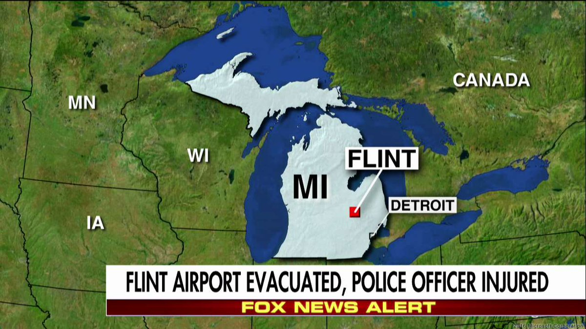 BREAKING NEWS: #Flint, Michigan, Airport evacuated, police officer injured.