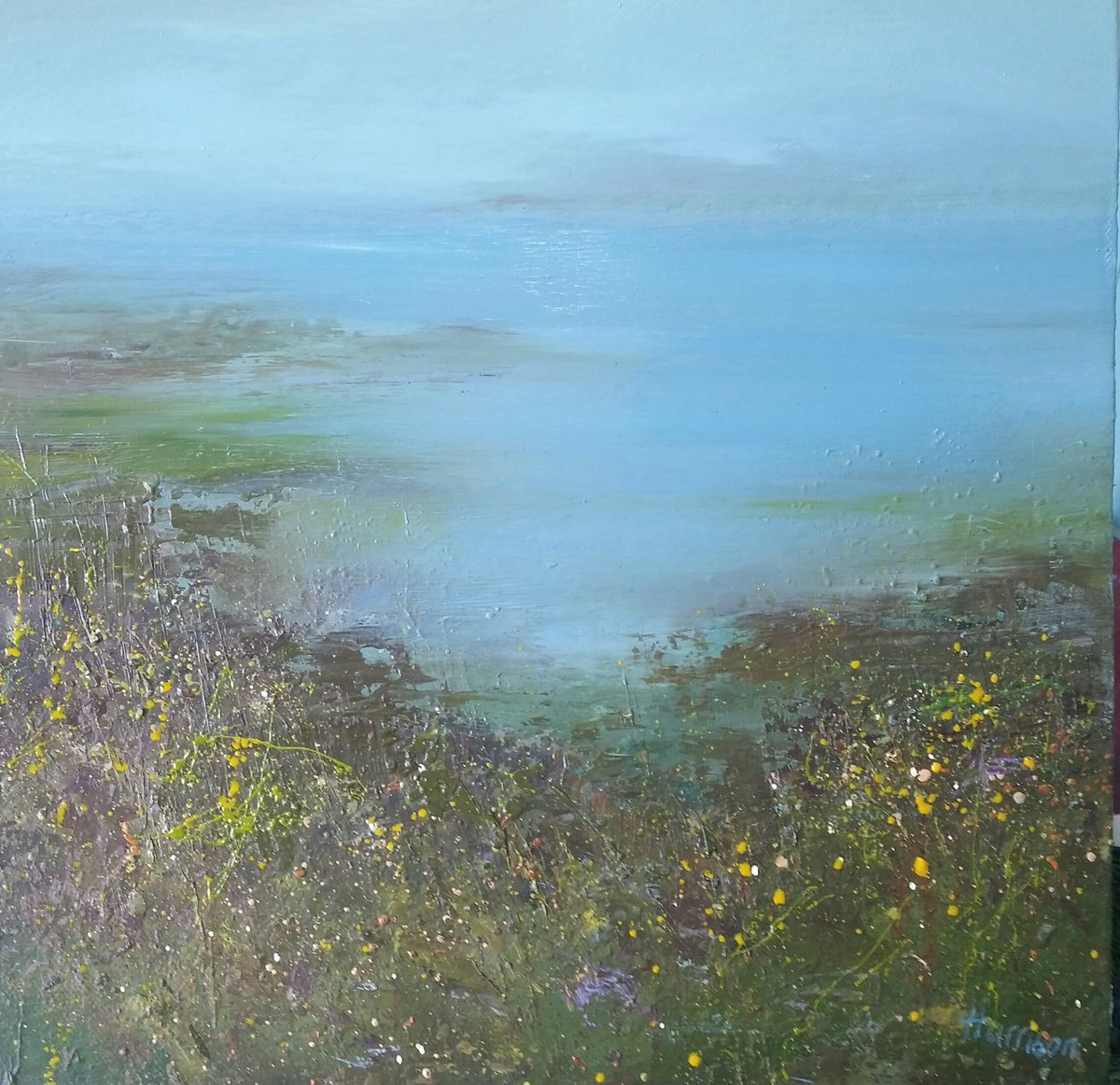 Inspired by walking along the Pembrokeshire Coast #oil on canvas #painting #seascape#shoreline #coast #atmosphere #summer. 30cm x 30cm<br>http://pic.twitter.com/94NfqWF6Pr