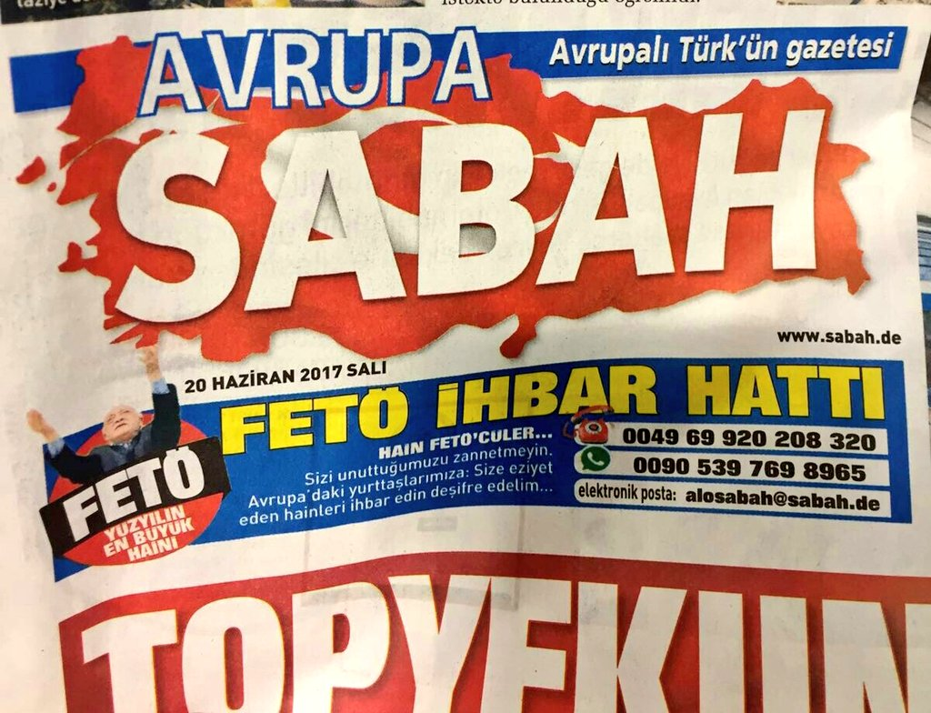 Front page hotline in pro-#Erdogan newspapers in Europe to snitch on #Gulen sympathizers  #hate #autocrat<br>http://pic.twitter.com/ZcPliSdHQU
