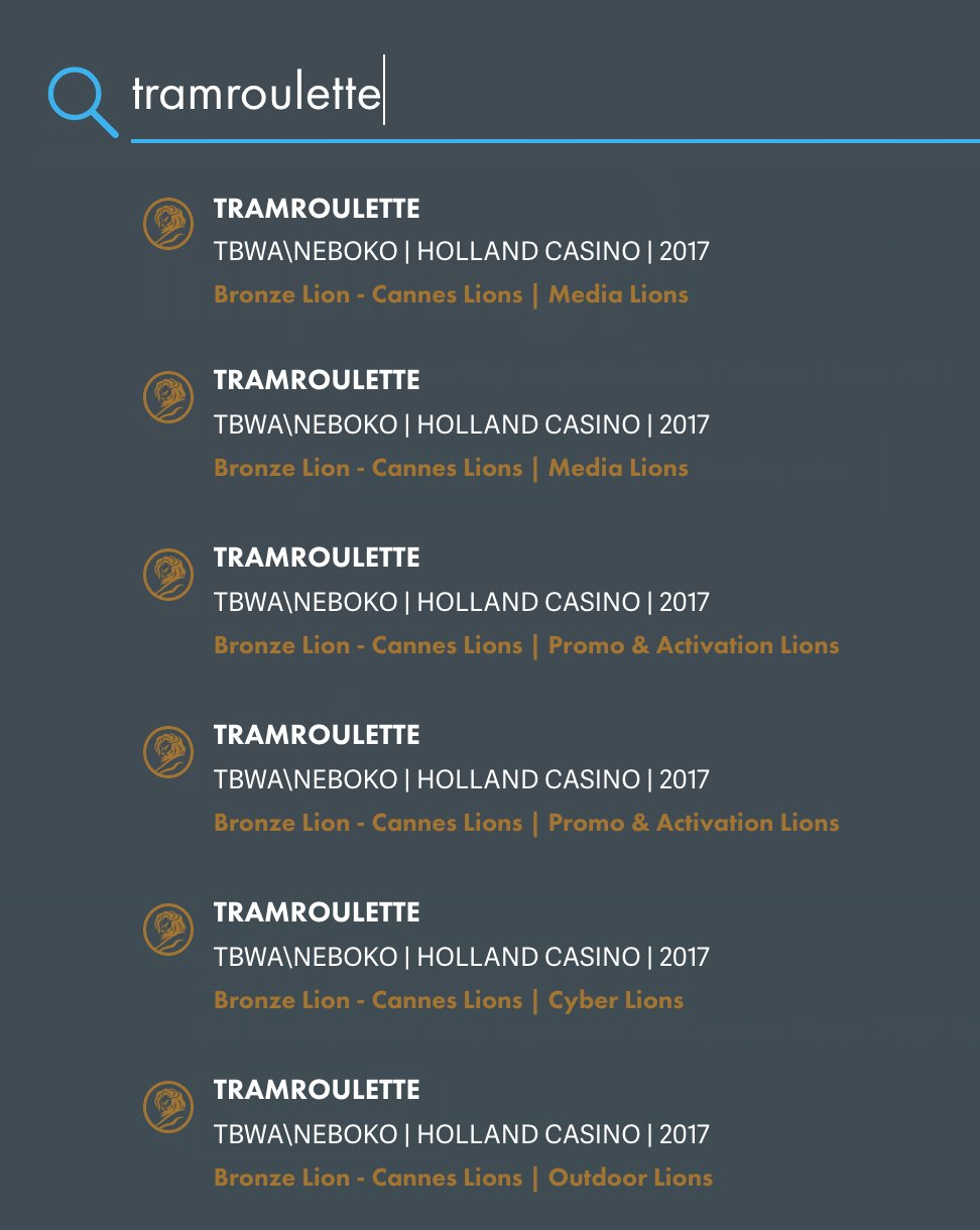 RT @SHMEngels: What a week!! #Tramroulette wins 6 Bronze @Cannes_Lions for @hollandcasino @TBWA https://t.co/47u0e0s1ji