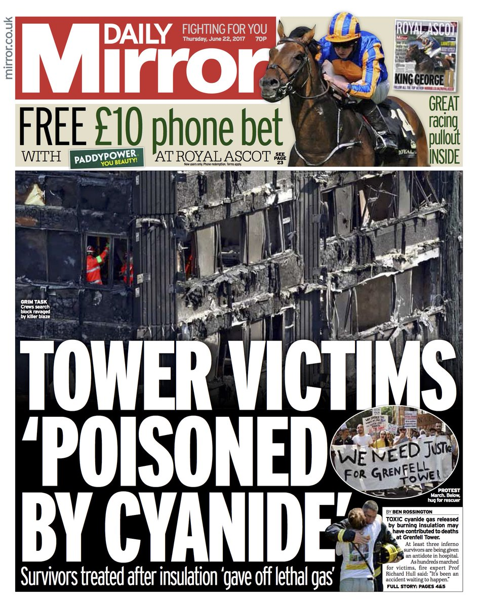 DAILY MIRROR FRONT PAGE: 'Tower victims 'poisoned by cyanide'' #skypapers
