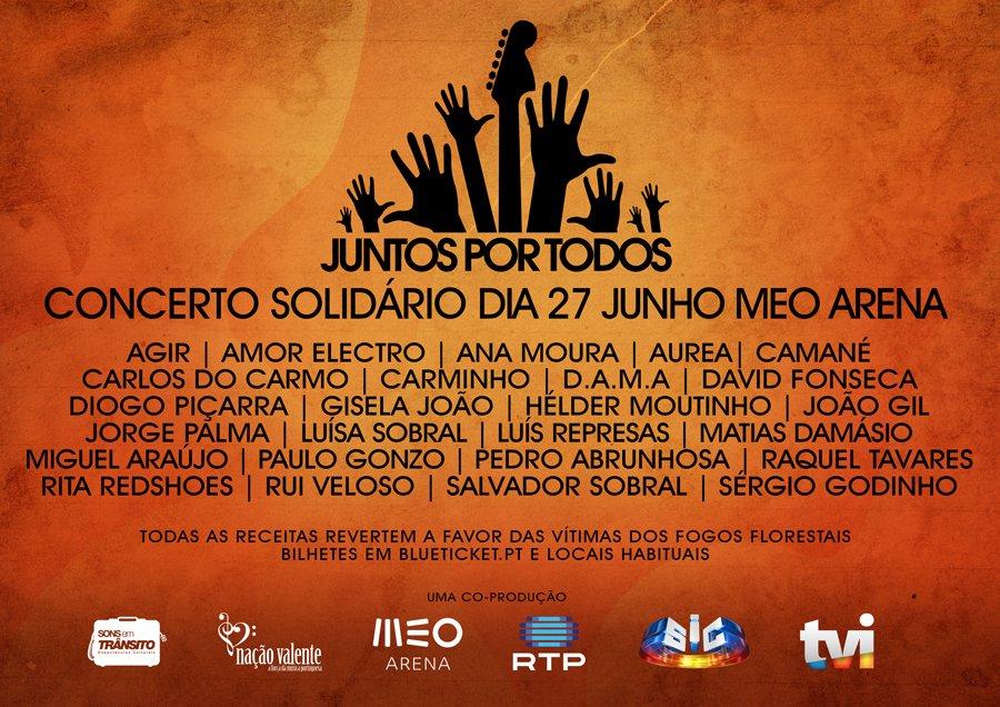 Artistas portugueses unem-se em concerto solidário no dia 27 de junho | RTP, SIC E TVI transmitem em simultâneo https://t.co/hiOEziZDsd