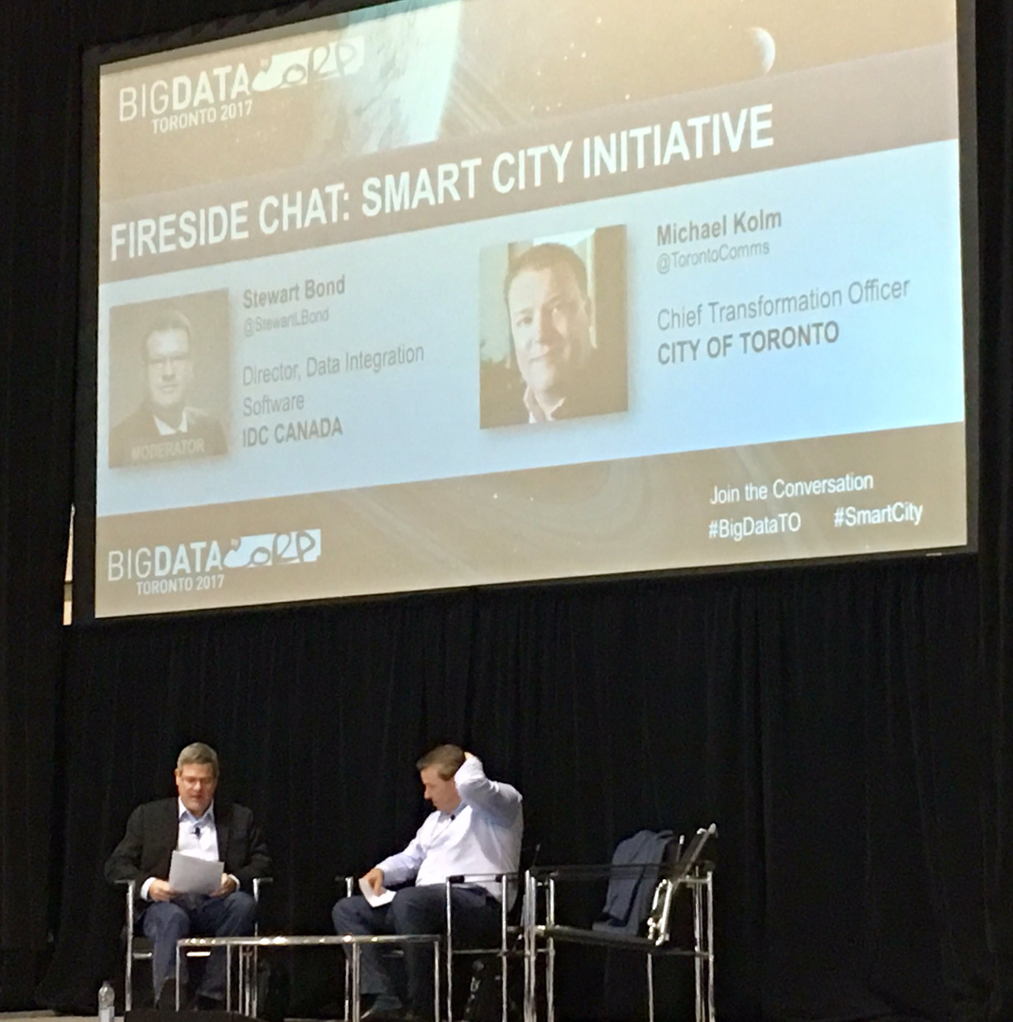 .@StewartLBond in #smartcities discussion with Michael Kolm @TorontoComms #BigDataTO https://t.co/zsFrpadRZY