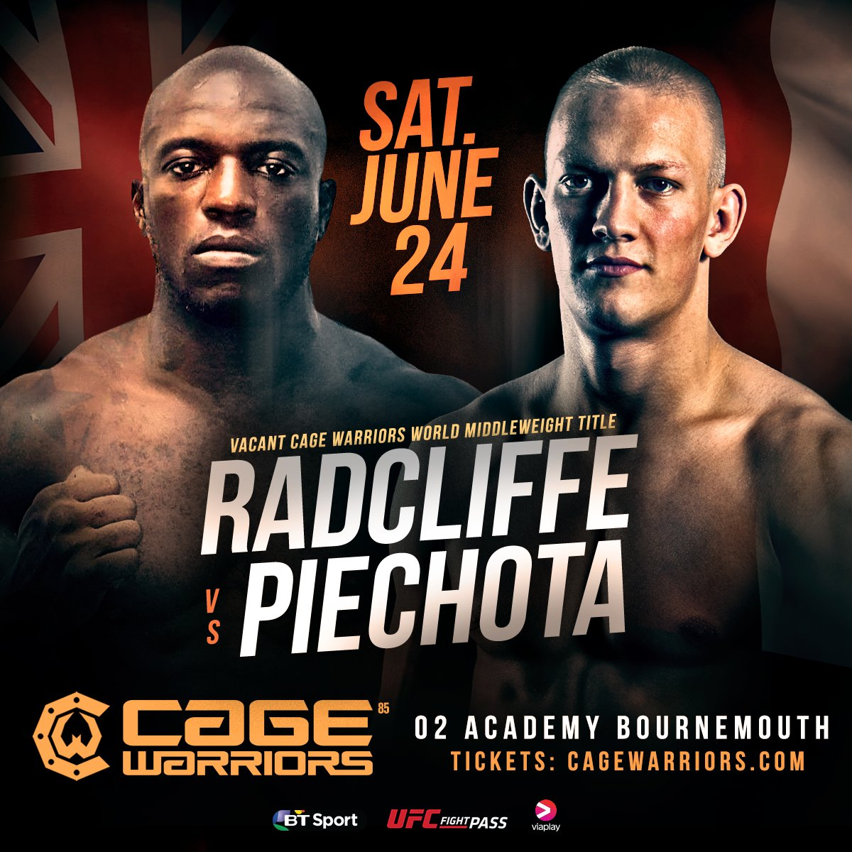 ONE HOUR! #CW85 is LIVE on #UFCFIGHTPASS! @CageWarriors https://t.co/v...