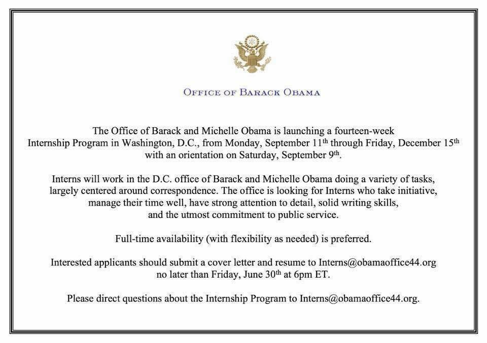 14 Week Internship In DC With The Office Of @BarackObama U0026 @MichelleObama  ✊🏾u2026  Within Michelle Obama Resume