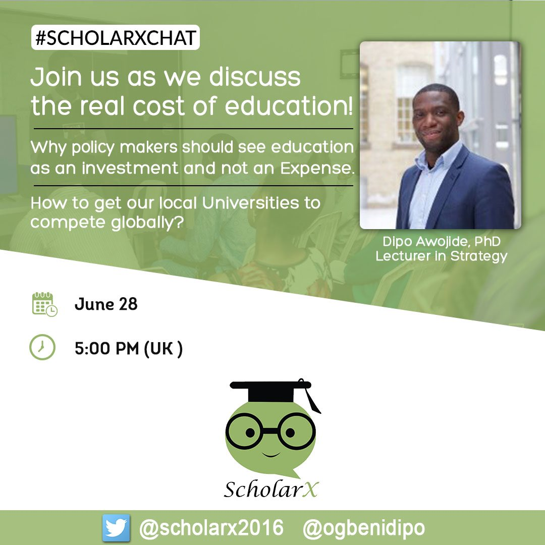 Join us on twitter! June 28! Trust @OgbeniDipo to supply great insights as usual! #twitterchat #education #africa #nigeria #investment #tech<br>http://pic.twitter.com/E6NuKRpHGw
