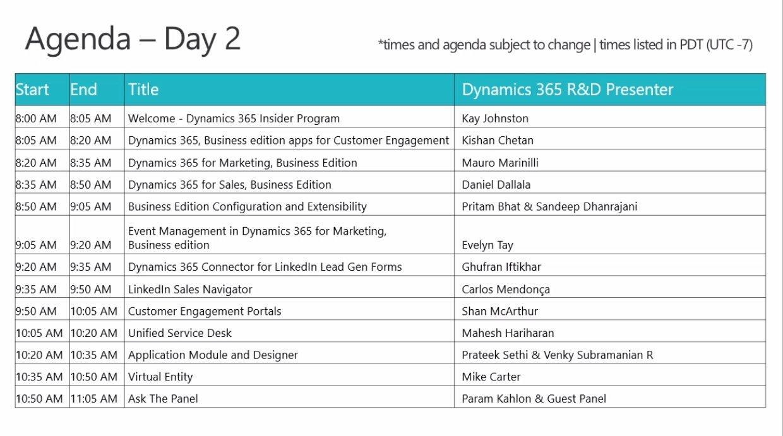 Recap of Today's Agenda! @MSDynamicsCRM  #MSDyn365 https://t.co/mlu4GitKaT