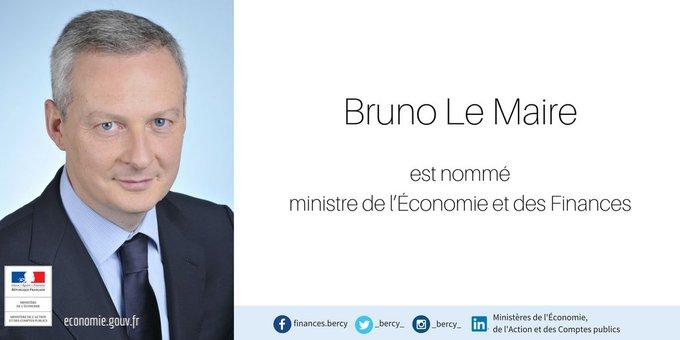 📢 Nomination : @BrunoLeMaire, ministre de l'#Economie et des #Finances #remaniement