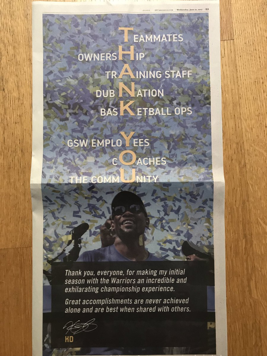 Any time an athlete buys a full page ad in a newspaper it's a good day. @KDTrey5 https://t.co/4eDUJcBEFg