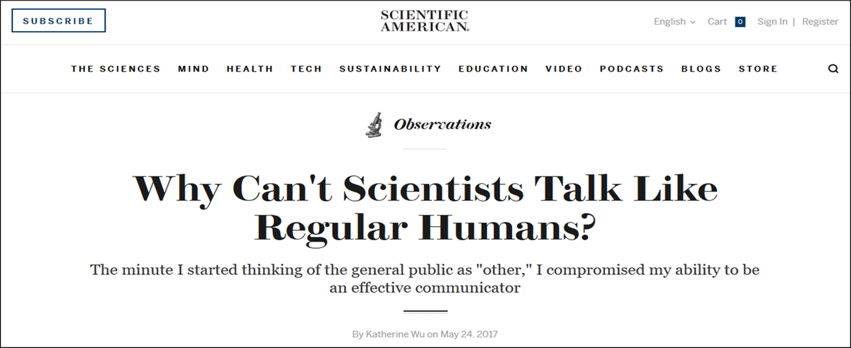 Pro Tip for successful #scicomm: remember, both scientists AND non-scientists are people. Talk to them, not at them.  https:// blogs.scientificamerican.com/observations/w hy-cant-scientists-talk-like-regular-humans/ &nbsp; … <br>http://pic.twitter.com/niR91ATaYL