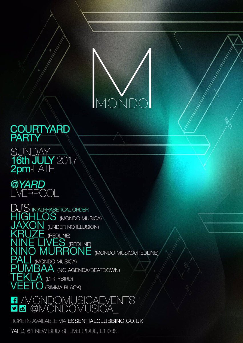 The Courtyard Party @ YARD  Sunday 16th July  2pm - Late  Tickets:  https:// essentialclubbing.co.uk/mondo  &nbsp;    #Techno #TechHouse <br>http://pic.twitter.com/FVfV9UTO8k