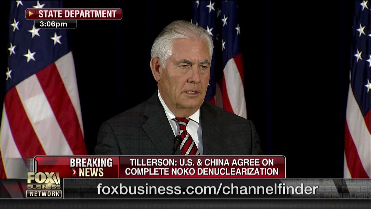 #Breaking Tillerson: U.S. and China agree on complete North Korean denuclearization