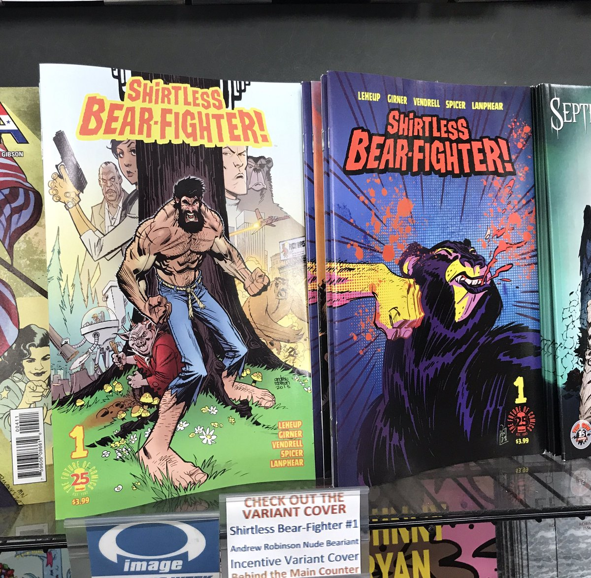 SHIRTLESS BEAR-FIGHTER #1 is a delight! Congratulations to @JodyLeHeup and @SGirner! #WarOnBearror