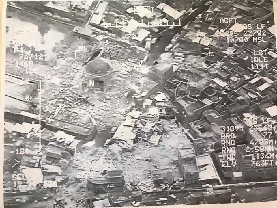 Photo: Drone image of al-Nuri Mosque after ISIS detonation