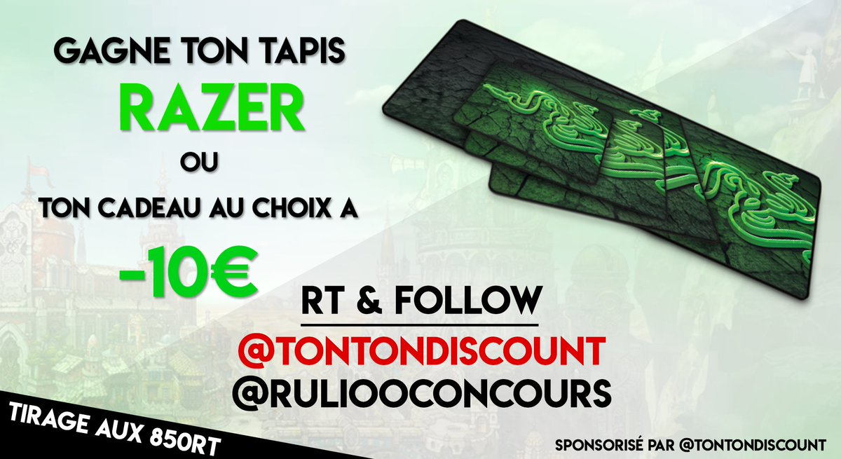 #CONCOURS #RAZER #IRL   #Rt &amp; #Follow  @TontonDiscount  @RuliooConcours   Clic   http:// bit.ly/2rDBCXu  &nbsp;       T.A.S  850 #RT <br>http://pic.twitter.com/Ve4UD1FfBn