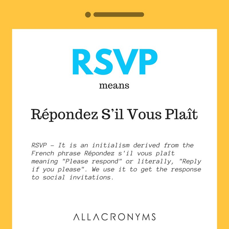All Acronyms on Twitter What does RSVP mean by httpst