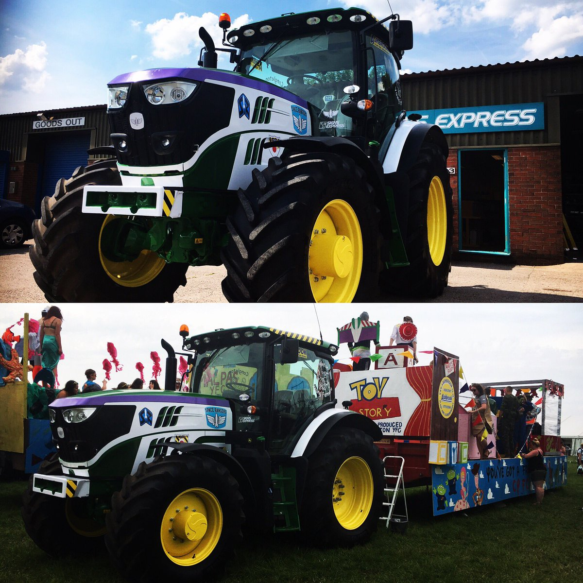 #buzzlightyear themed tractor you say? Why yes #jkashbrook we accept! Donated by jkashbrook to #Congletonyfc to tow their fantastic float!<br>http://pic.twitter.com/KqsjG19vNW