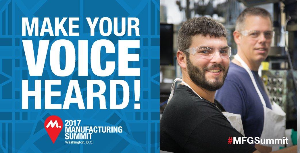 #Manufacturers build America &amp; it's time America hears us. Make your voice heard. #MFGsummit  http:// bit.ly/2tuijRW  &nbsp;  <br>http://pic.twitter.com/Ir9qqKUIyz