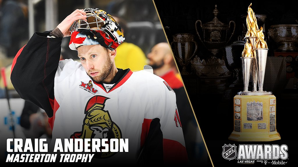 For his incredible perseverance and dedication to hockey, Craig Anderson wins the Bill Masterton Memorial Trophy. #NHLAwards