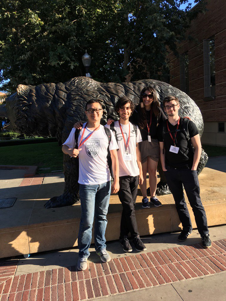 Rankin lab with UCLA Bruin heading to opening talks for #worm17! Weather great- not too hot! https://t.co/0LYeY48tdm