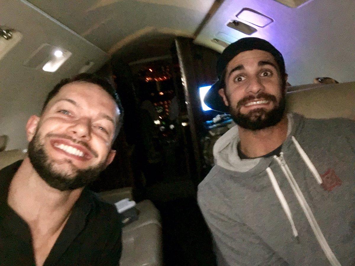 Finn & Seth ride a Jet ✈️ @WWERollins  #NationalSelfieDay #SelFINN...