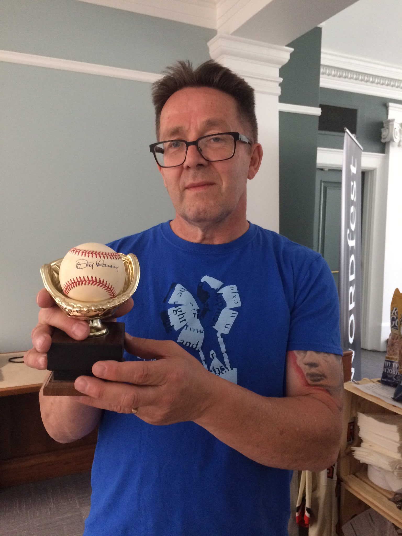 Our fab volunteer Ian with a Don Larsen autographed ball, the only pitcher to pitch a perfect game in the World Series #LetsPlayBall https://t.co/5J8yh3BZ1z