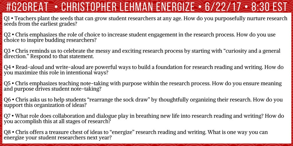 Check out our questions for #G2Great tonight w/guest @iChrisLehman thinking about how to make innovation happen... https://t.co/a8JZ7XnbcT