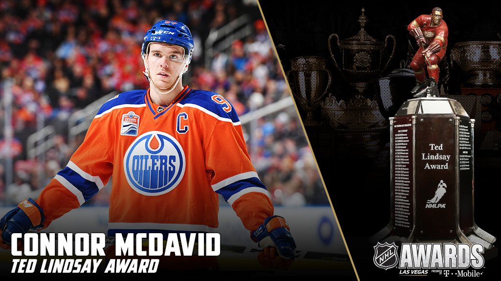 Connor McDavid wins the Ted Lindsay Award as the Most Outstanding Play...
