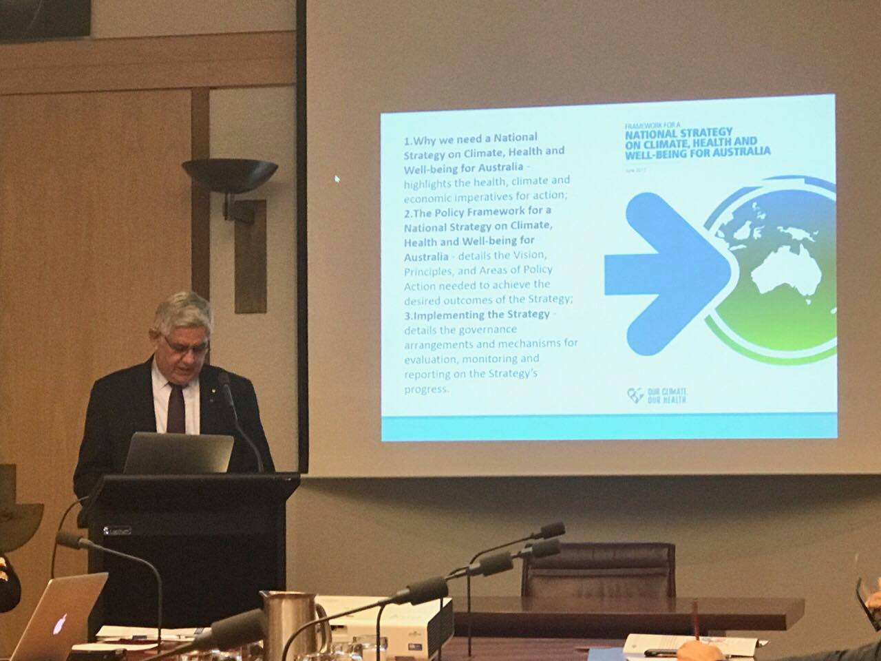 Minister for Aged Care & Indigenous Health, The Hon @KenWyattMP AM, speaking at the @healthy_climate #climatehealthstrategy launch today! https://t.co/hmsU82f3iL