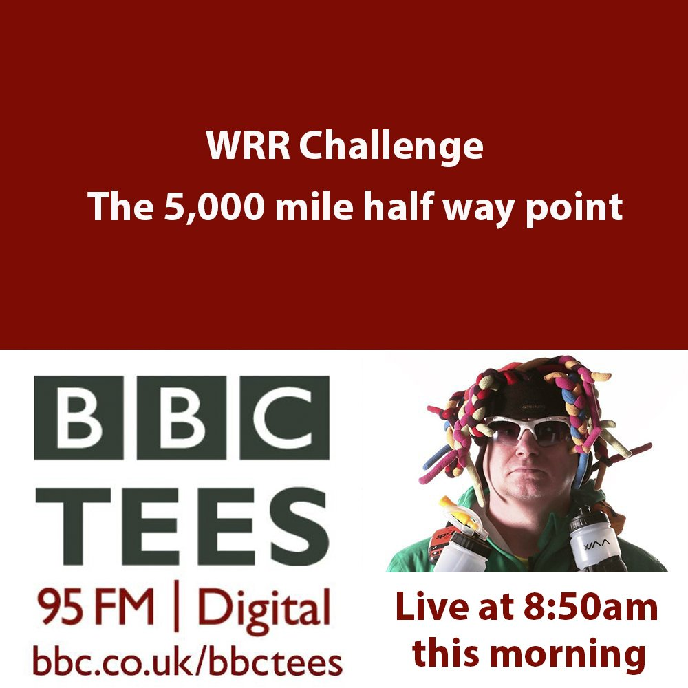 Live on @BBCTees this morning at 8.50am discussing my WRR Challenge and the last 5,000 miles #running #cycling #getoutside<br>http://pic.twitter.com/sXUGzRWncW
