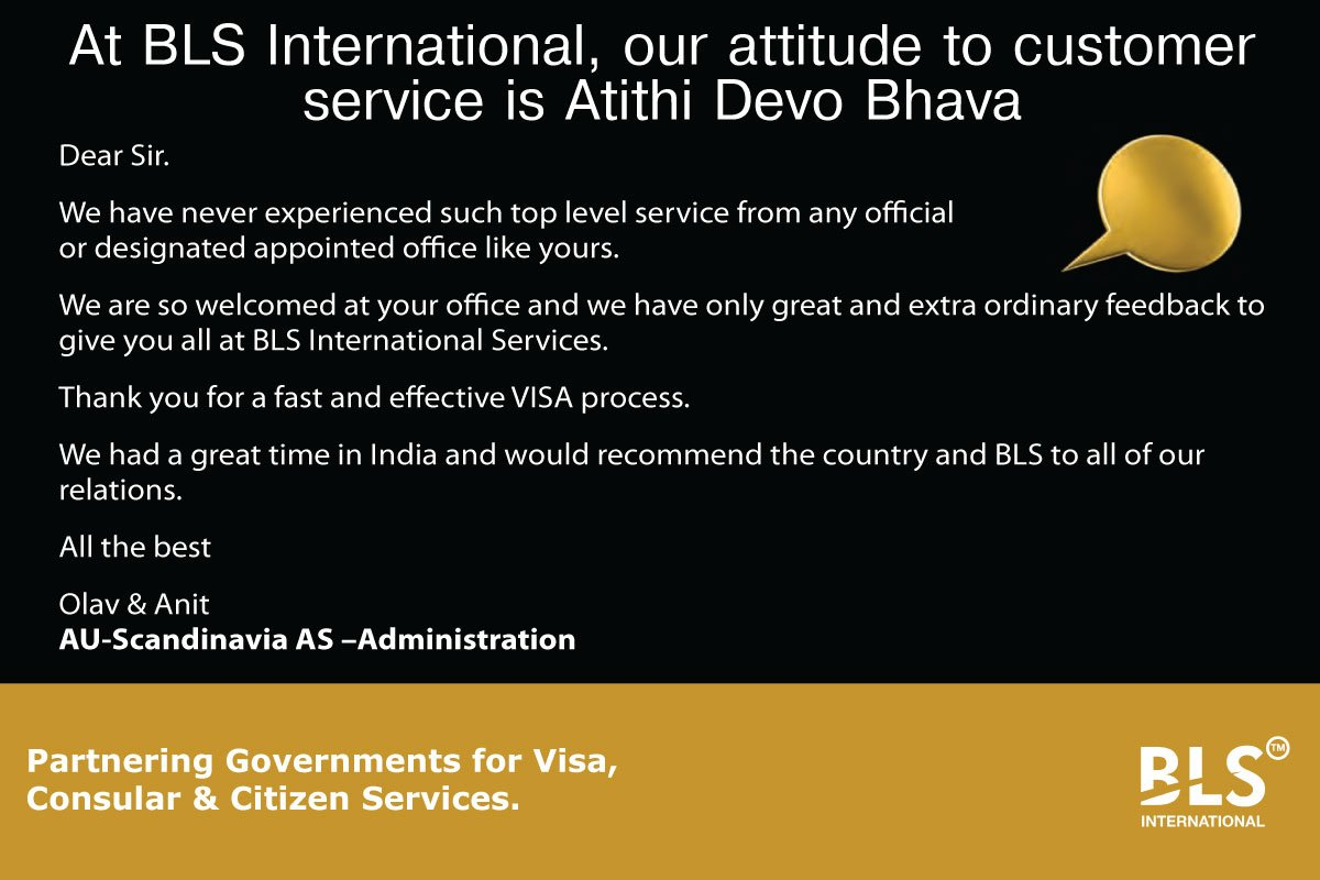 At BLS International, our attitude to #CustomerService is Atithi devo bhava. #visa #outsourcing<br>http://pic.twitter.com/xkEfqPRQuD