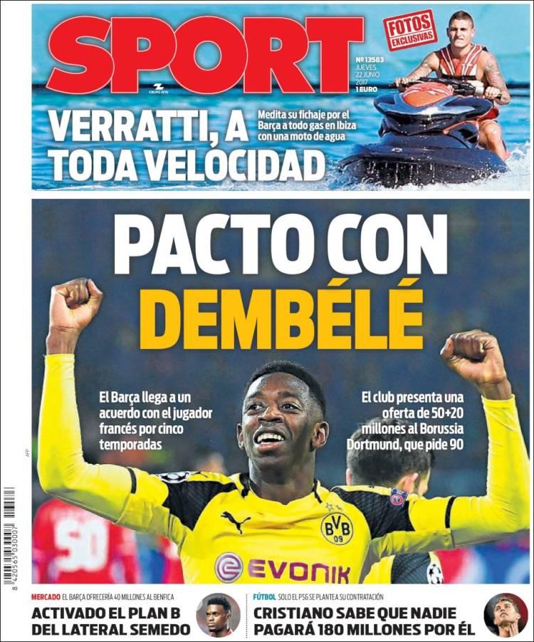 Accord de 5 ans entre #Dembélé et le #Barça qui proposera 50+20 M€ au #Borussia Dortmund qui en veut 90M€ selon Sport pic.twitter.com/cD534demiC