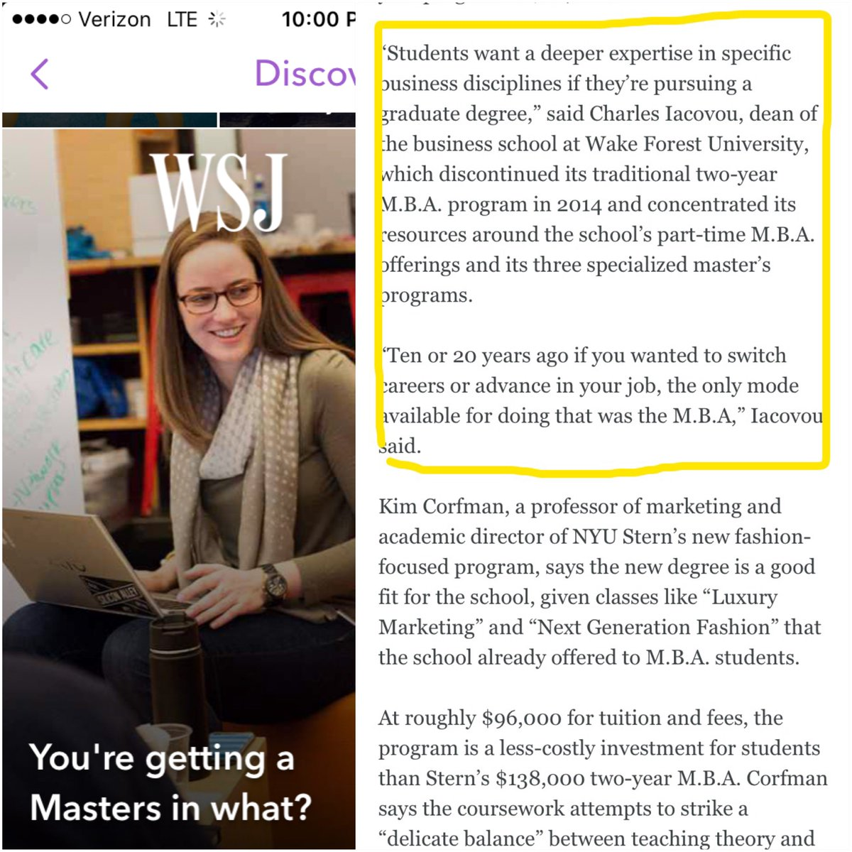 "We're in the @WSJ cover #Snapchat story today! ""You're getting a Master's in what?"" #bizdeacs #wfu"
